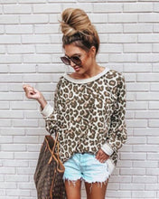 Load image into Gallery viewer, Fashion Long Sleeve Loose Leopard Tops Lady Winter Warm Streetwear Sweater Casual Women Blouse Pullover Korean Clothes