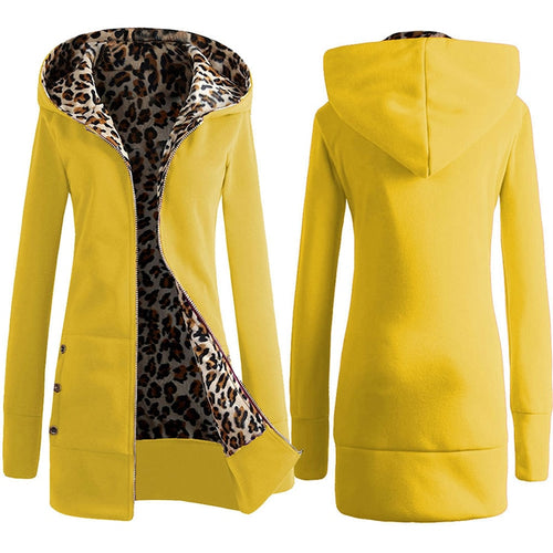 Women Plus Winter Thicker Hooded Coats Overcoat Outwear Female Korean Style Pocket Jacket Autumn Leopard Zipper Hoodes Coat