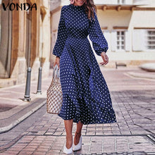 Load image into Gallery viewer, 2019 Autumn Dress VONDA Dot Printed Vintage Overalls Summer Dress Beach Vestidos Womens Evening Party Robe Femme Sexy Sundress