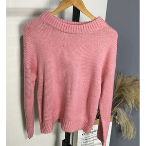 Loose Pink Oversized Sweater Women Lantern Sleeve Pullovers Korean Knitted Sweatr Girls Cute Jumpers