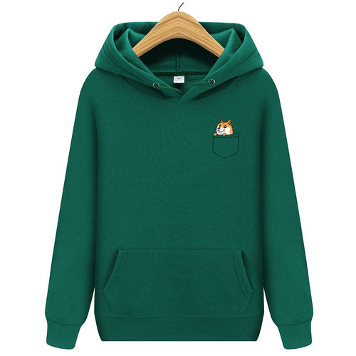 Autumn winter New brand Pocket Cat Letter Printed Hoodies men Casual Hoodies Sweatshirt Sportswear Male Fleece Hooded Jacket