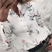 Load image into Gallery viewer, Women Tops Casual Ladies Blouse Lapel Collar  Work Office Slim  Long Sleeve Floral Printed Female Tops