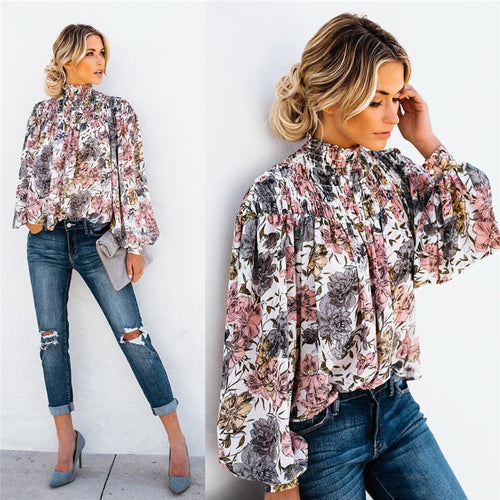 High Collar Blouse Fashion Ladies Floral Long Sleeve Casual Shirt Top Loose Lantern Sleeve Printed Turtle Neck Blouse Shirt Top