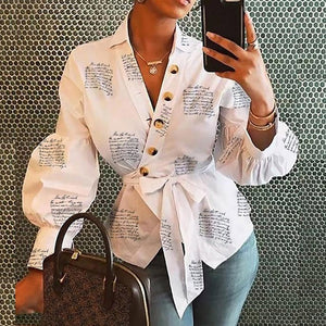 Fanbety Women's letters Blouse Shirt Lantern Long Sleeve Blouses Office Lady Autumn winter sexy v neck button Tops belt Blusa