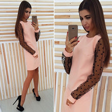 Load image into Gallery viewer, Elegant Ladies Polka Dot Mesh Patchwork Dress 2018 Women Casual Straight O-Neck Long Sleeve Autumn Dress Vestidos 5