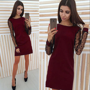 Elegant Ladies Polka Dot Mesh Patchwork Dress 2018 Women Casual Straight O-Neck Long Sleeve Autumn Dress Vestidos 5