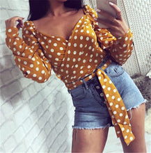 Load image into Gallery viewer, Autumn Vintage New Women Blouses Slim Deep V Neck Lace up Polka Dot Lady Tops Long Sleeve Casual Female Outfits