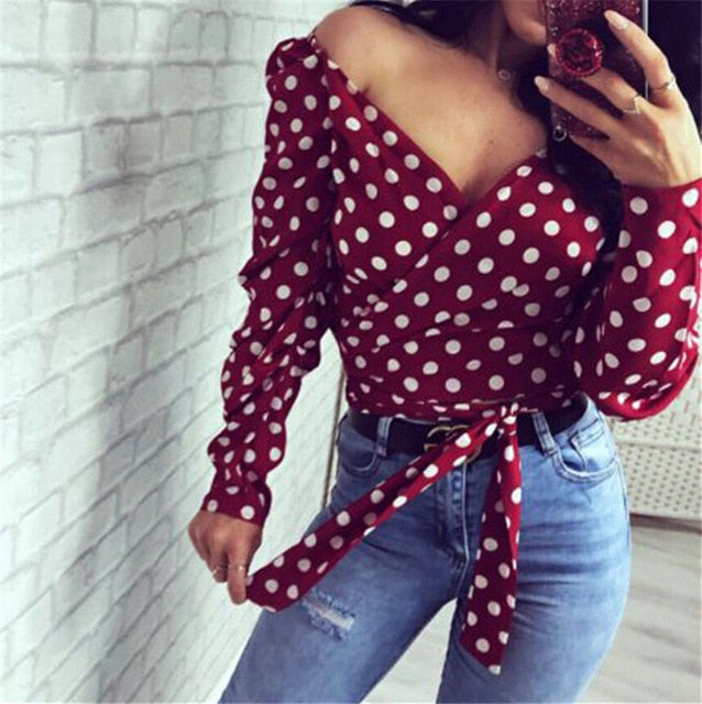 Autumn Vintage New Women Blouses Slim Deep V Neck Lace up Polka Dot Lady Tops Long Sleeve Casual Female Outfits