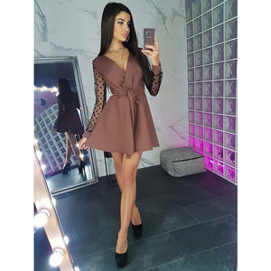 Sexy Sashes v Neck Party Dress Women Long Sleeve Lace Patchwork a Line Elegant Dress 2019 Autumn Female Club Party Dress Mini