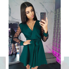 Load image into Gallery viewer, Sexy Sashes v Neck Party Dress Women Long Sleeve Lace Patchwork a Line Elegant Dress 2019 Autumn Female Club Party Dress Mini