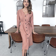 Load image into Gallery viewer, Sexy V Neck Autumn Long Sleeve women dress ladies sashes button casual office dress 2019 new fashion women midi dress vintage