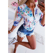 Load image into Gallery viewer, Women Long Half Sleeve Loose Shirts Shirt OL Clothes Plain Casual Button Blouse Office Lady Summer Chiffon Shirts blusa feminina