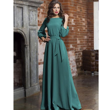 Load image into Gallery viewer, 2019 Vintage Solid Bow Sashes Maxi Long Dress Ladies Lantern Sleeve O Neck Elegant Party Dress Autumn Winter Women Casual Dress