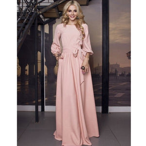 2019 Vintage Solid Bow Sashes Maxi Long Dress Ladies Lantern Sleeve O Neck Elegant Party Dress Autumn Winter Women Casual Dress