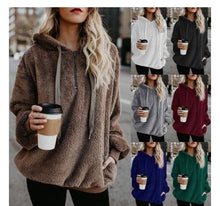 Load image into Gallery viewer, WEPBEL Women Solid Color Hoodies Full Sleeve Autumn Winter Casual Fashion Pocket Ladies Girl Tops Hoodie
