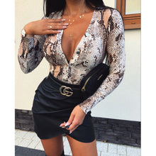 Load image into Gallery viewer, Fashion Womens Deep V Neck Bodysuit Leotard Top Shirts Long Sleeve Blouse Party Tops Leopard Snake Slim Party Club Clothes