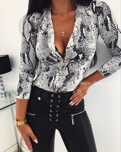 Fashion Womens Deep V Neck Bodysuit Leotard Top Shirts Long Sleeve Blouse Party Tops Leopard Snake Slim Party Club Clothes