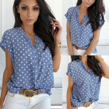 Load image into Gallery viewer, Blue Polka Dot Print Womens Tops And Blouses Short Sleeve V Neck Slim Blouse Women Summer Clothes Casual Loose Shirts Streetwear