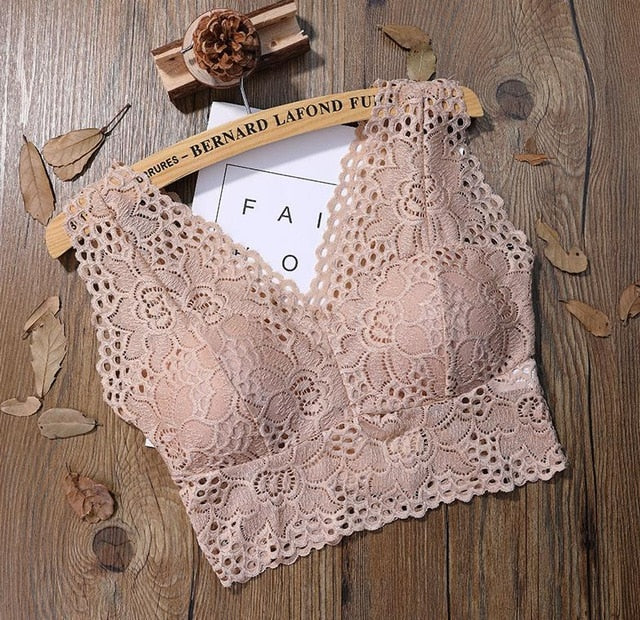 Sexy Lace Crop Top Women Fashion Floral Lace Padded Camis Bra Tank Top V Neck Underwear MM Bralett Ladies Camisole