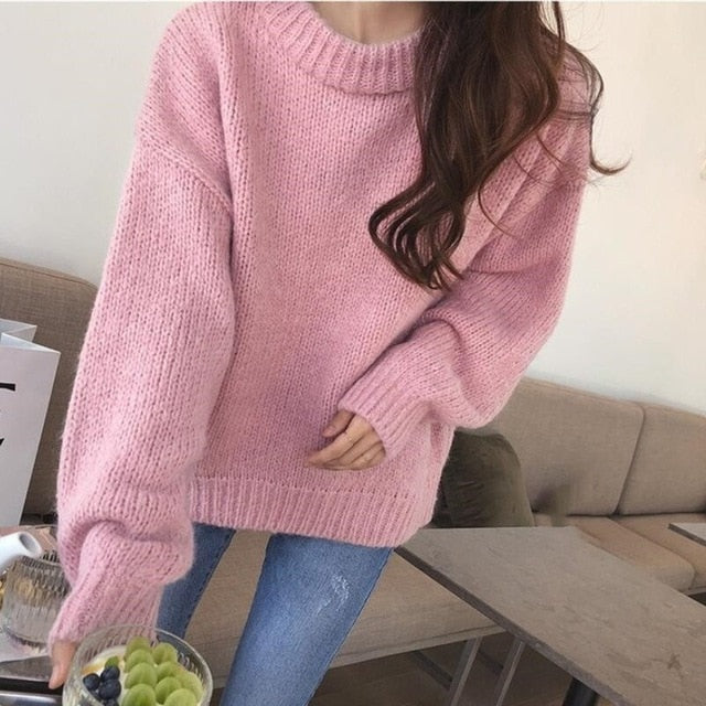 5 Colors 2019 Autumn Women Loose Pink Oversized Sweater Lantern Sleeve Pullovers Korean Knitted Sweatr Girls Jumpers