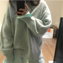 Load image into Gallery viewer, 5 Colors 2019 Autumn Women Loose Pink Oversized Sweater Casual Lantern Sleeve Pullovers Korean Knitted Sweatr Girls Jumpers