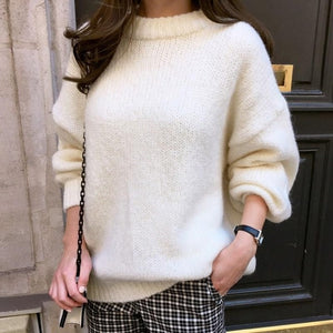 5 Colors 2019 Autumn Women Loose Pink Oversized Sweater Casual Lantern Sleeve Pullovers Korean Knitted Sweatr Girls Jumpers