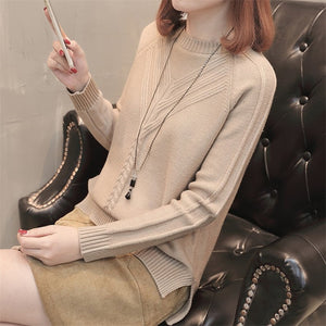 2019 New Fashion Autumn Winter Women Short Sweatr Korean Loose Slim Wild Long Sleeve Knitted Sweater Spring Office Casual Slim