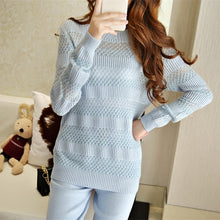 Load image into Gallery viewer, 2019 Sweater Pullover New Arrival Real Wool Full Winter Cashmere Sweatre Suit High-end Sexy Hollow Knitting Two-piece Pants