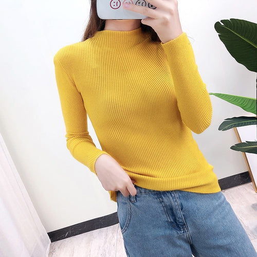 2019 Women Sweater Casual Solid Color Turtleneck Female Pullover Jumper Full Sleeve Warm Soft Autumn Winter Knitted Sweaters