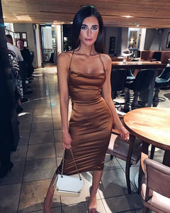 Dulzura neon satin lace up 2019 summer women bodycon long midi dress sleeveless backless elegant party outfits sexy club clothes
