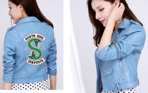 Riverdale Women PU Leather Jacket Fashion print Motorcycle Jacket Short Southside Serpents Artificial Leather Motorcycle Coat