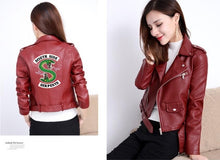 Load image into Gallery viewer, Riverdale Women PU Leather Jacket Fashion print Motorcycle Jacket Short Southside Serpents Artificial Leather Motorcycle Coat