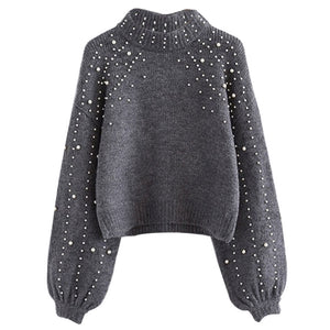 LOOZYKIT Autumn Winter 2019 Women Sweaters And Pullovers Bead Lantern Sleeve Knitted Sweater Pullover Female Grey Loose Jumpers