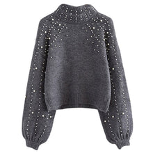 Load image into Gallery viewer, LOOZYKIT Autumn Winter 2019 Women Sweaters And Pullovers Bead Lantern Sleeve Knitted Sweater Pullover Female Grey Loose Jumpers
