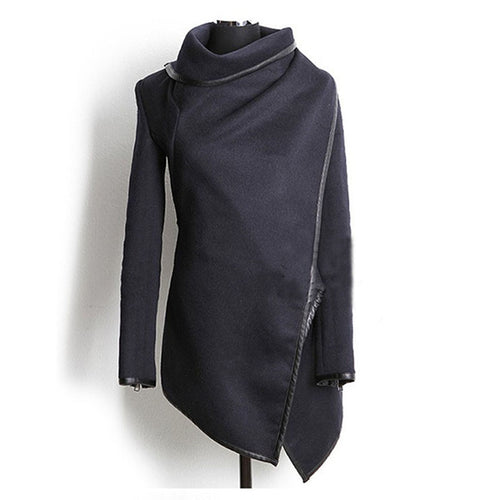 Women Autumn Spring Irregular Long Cashmere Overcoats Jacket Scarf Collar Solid Coat Female Warm Long Sleeve Overcoat