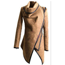 Load image into Gallery viewer, Women Autumn Spring Irregular Long Cashmere Overcoats Jacket Scarf Collar Solid Coat Female Warm Long Sleeve Overcoat