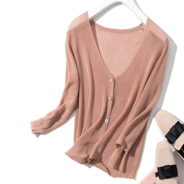 Summer Autumn 2019 Cardigans Women Sweater Casual Linen Lady Knitting Outwear For Female Single Breasted Long Sleeve Sweatrs