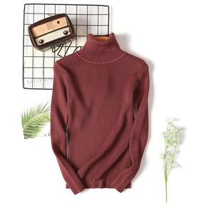 Turtleneck Pullovers Thick Sweater Women Winter Sweaters Knitted Bottoming Tops  Solid Long Sleeves Female Warm Sweatrs Autumn