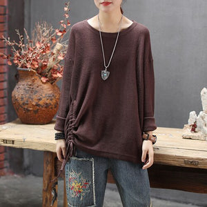 Yalabovso new round-necked pure-color knitted sweater long-sleeved sweater with strawing loose trend sweatr  pullover women z3