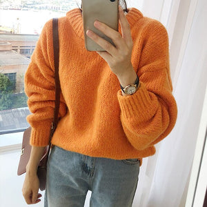 White Loose Oversized Women Sweater Tops Lantern Sleeve Pullovers Korean Knitted 2019 Autumn Winter Sweatr Female Jumpers