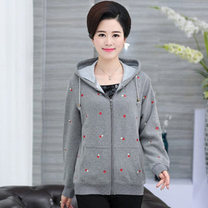 2018 Autumn Winter new Hooded Hoodies women Sweatshirts Print Printing Hoody middle-aged casual hoodies sweatr coats QH1107