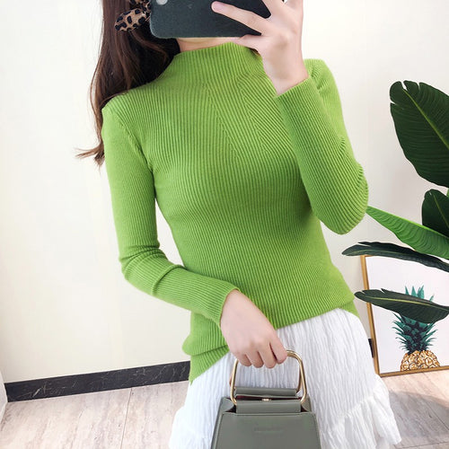 2019 Women Turtleneck Sweater Casual Solid Color Female Pullover Jumper Full Sleeve Warm Soft Autumn Winter Knitted Sweaters