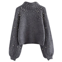 Load image into Gallery viewer, OEAK Women Knitted Sweaters Long Sleeve Wrap Front Loose Pullover Jumper Tops Round neck sweater ladies pullover