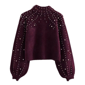 OEAK Women Knitted Sweaters Long Sleeve Wrap Front Loose Pullover Jumper Tops Round neck sweater ladies pullover