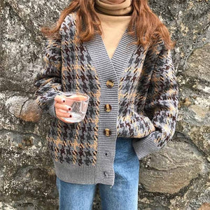NORMOV Autumn Winter Lattice Knitted Sweater Women Long Cardigans Loose Thick V-Neck Sweaters Casual Female Sweater Coat