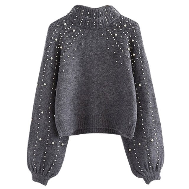 Women Knitted Sweaters Round Neck Sweater Long Sleeve Wrap Front Loose Pullover Jumper Tops Ladies Pullover
