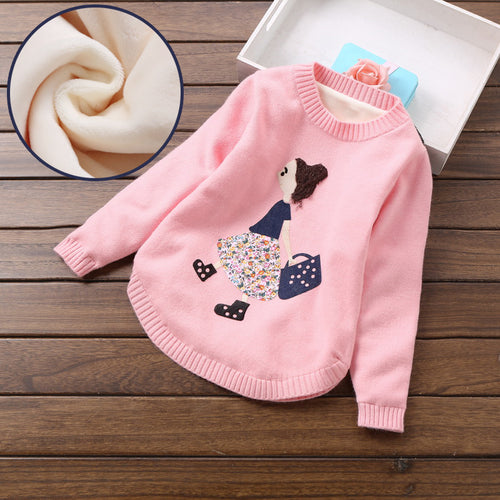 2018 fashion girls sweaters 6-14 years girls clothing winter sweatrs thick sweater for winter T8001