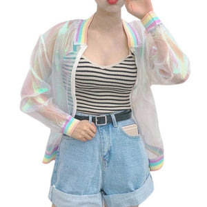Women Tops Harajuku Summer Laser Rainbow Symphony Hologram Women Coat Lridescent Transparent Bomber Jacket Sunproof Coat Women