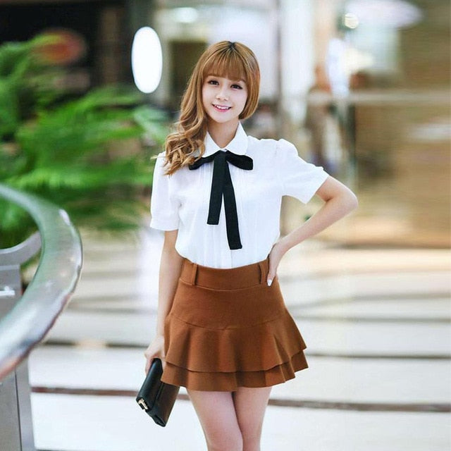 Fashion Female Elegant Bow Tie White Blouses Chiffon Peter Pan Collar Casual Shirt Ladies Blouse summer blouses for women