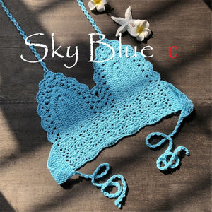 New Knit Crochet Cami Summer Bikini Beach Crop Top Women Bralette Halter Neck Crop Tops